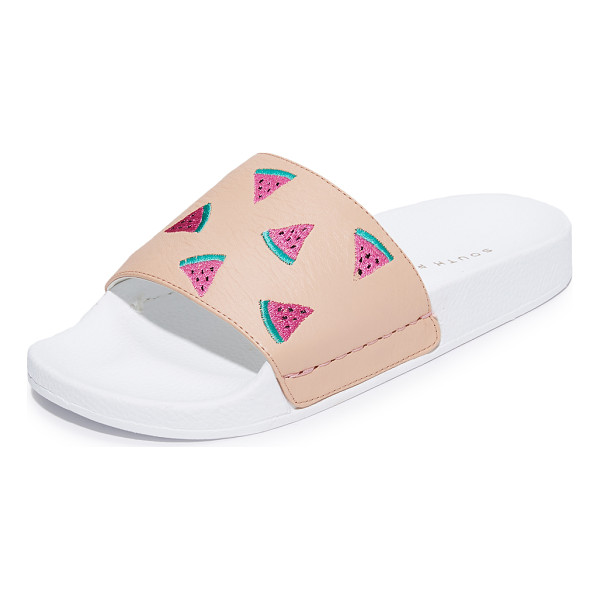 SOUTH PARADE watermelon pool slides - Embroidered watermelons add a playful feel to these leather...