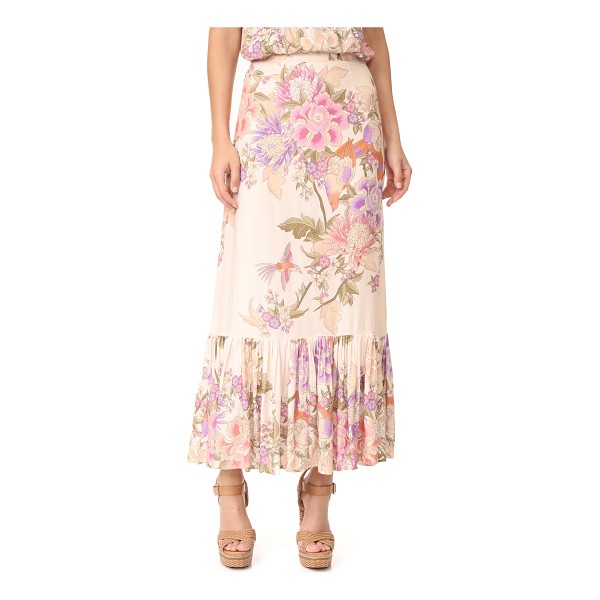 SPELL blue skies split skirt - A pleated SPELL skirt with a romantic floral print and deep...