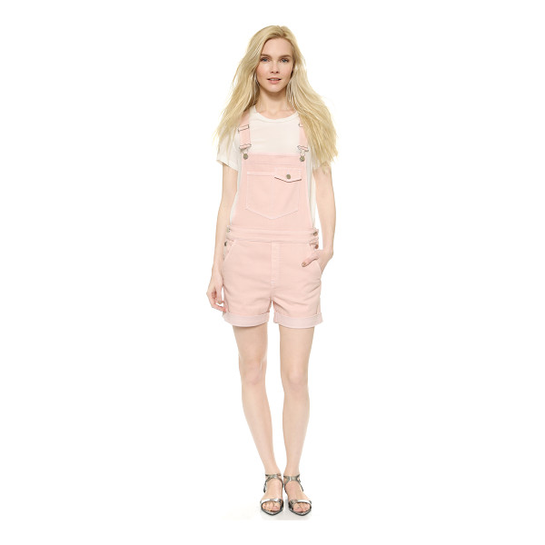 STELLA MCCARTNEY Denim overall shorts - A delicate hue lends a feminine touch to relaxed Stella...