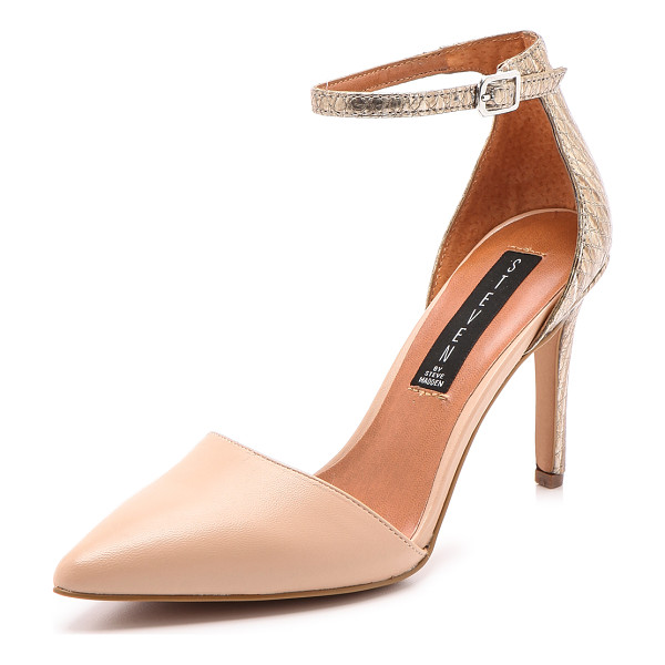 STEVEN Annibel ankle strap pumps - Metallic, snake embossed leather adds exotic appeal to