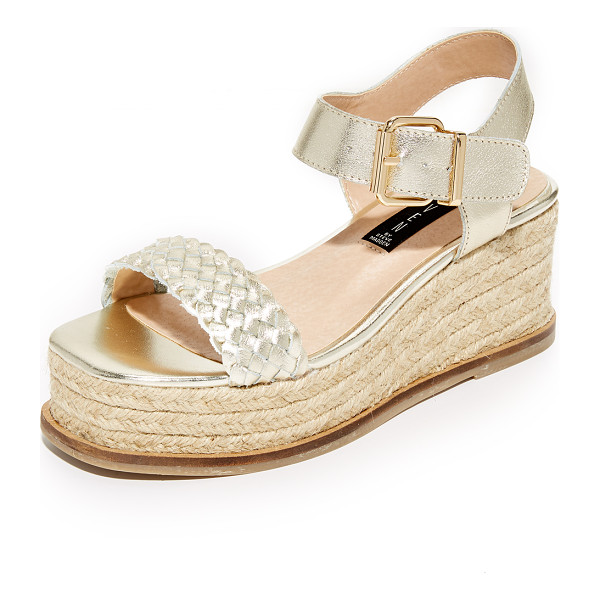 STEVEN sabble flatform sandals - Bands of smooth and woven metallic leather compose these...