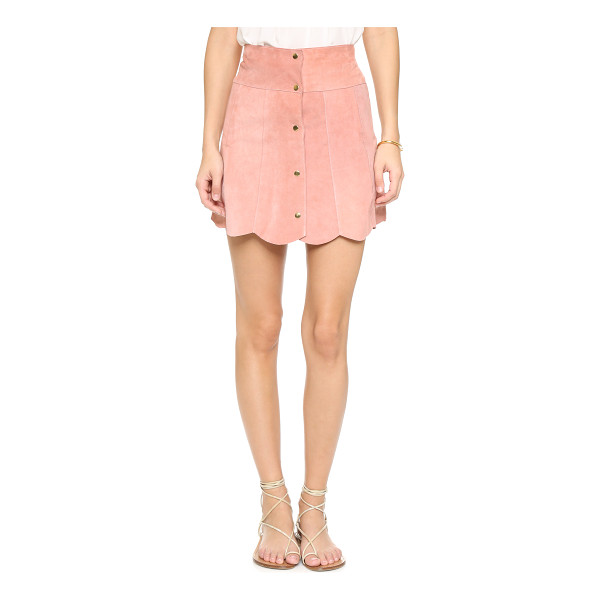STONED IMMACULATE Marsha suede petal skirt - A scalloped hem lends a sweet finish to this suede Stoned...