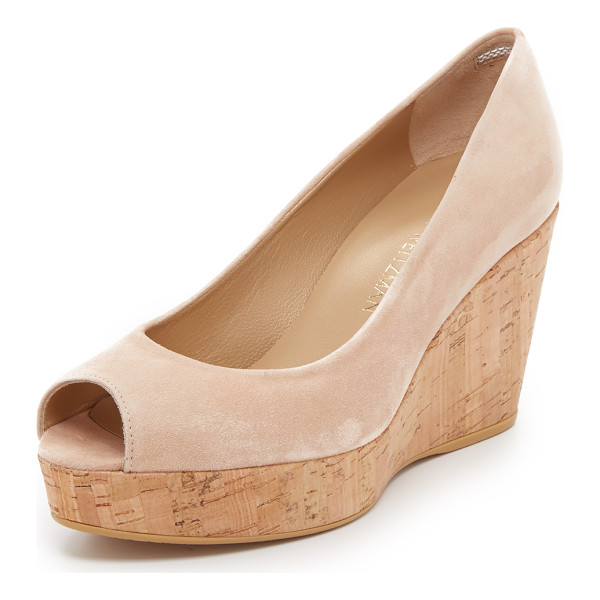 STUART WEITZMAN Anna peep toe wedges - A cork wedge and platform bring natural beauty to these...