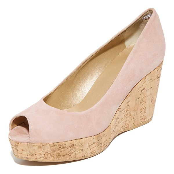 STUART WEITZMAN anna peep toe wedges - A cork wedge and platform bring natural appeal to these...