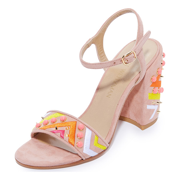 STUART WEITZMAN both sandals - Vibrant, colorful embroidery and cabochons trim the vamp...
