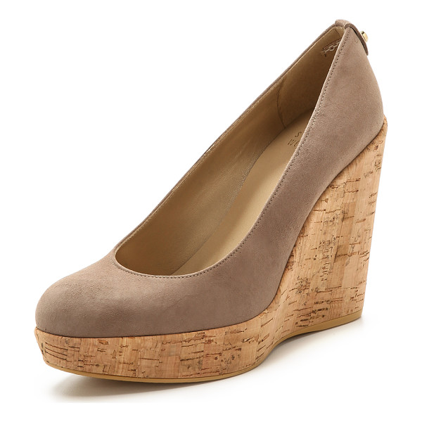 STUART WEITZMAN Corkswoon cork wedge pumps - A substantial cork platform wedge lends effortless lift to
