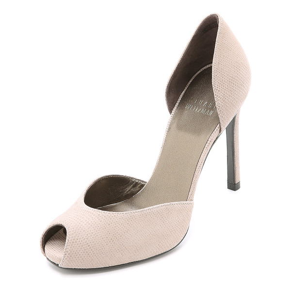 STUART WEITZMAN Divorcee dorsay pumps - Glossy coating over matte suede lends unique texture to