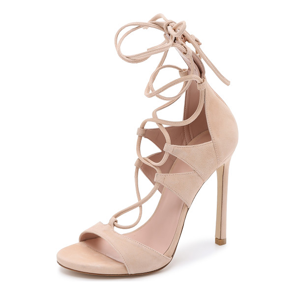 STUART WEITZMAN Leg wrap suede sandals - Stuart Weitzman sandals made from luxe suede. Skinny laces...