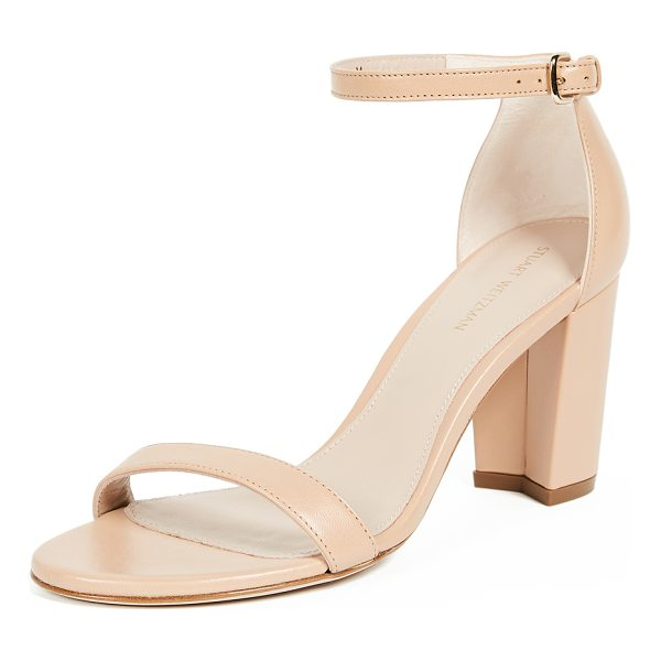 STUART WEITZMAN nearlynude sandals - Leather: Lambskin Pumps Chunky heel Buckle at ankle Open...