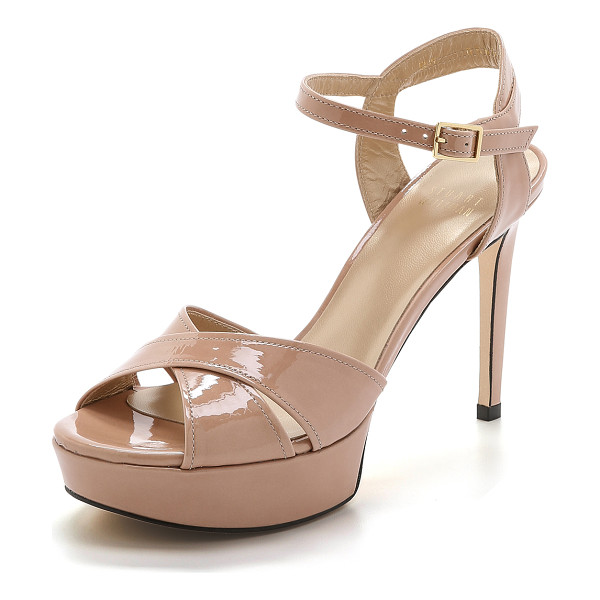 STUART WEITZMAN Nexus platform sandals - Glossy patent leather brings a girly look to these towering...