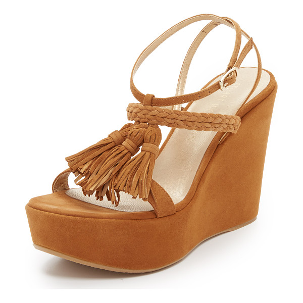 STUART WEITZMAN Tassel mania wedge sandals - Tonal tassels and braided straps accent these soft suede...