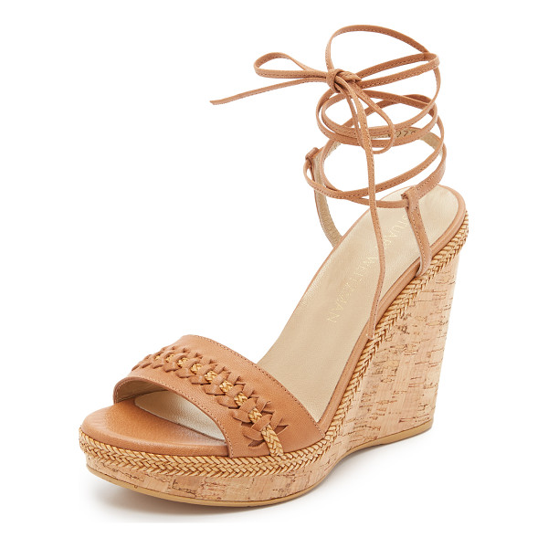 STUART WEITZMAN Tiedover wedge sandals - Woven leather strips detail the vamp and trim the platform...