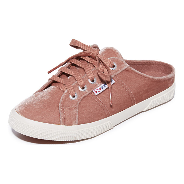 SUPERGA 2288 velvet mule sneakers - Cutaway backs lend easy, slip-on style to these casual...