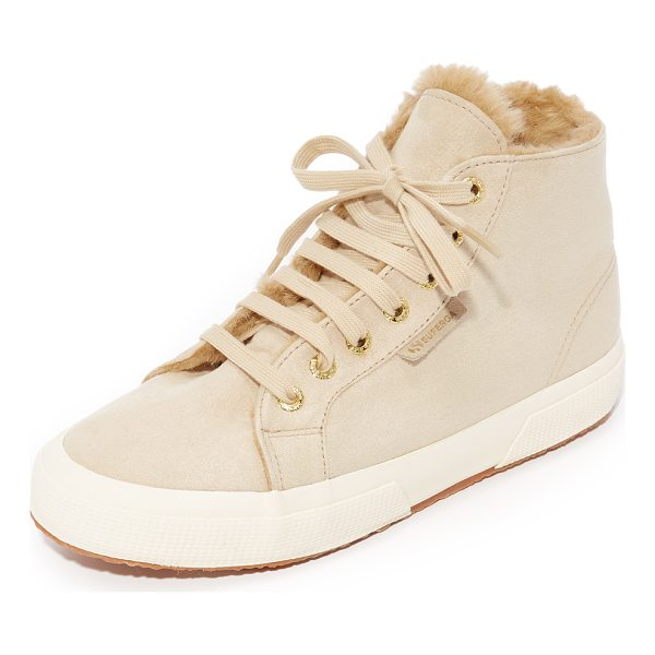 SUPERGA 2795 sherpa lined high top sneakers - Sherpa lining adds a cozy touch to these faux-suede Superga...