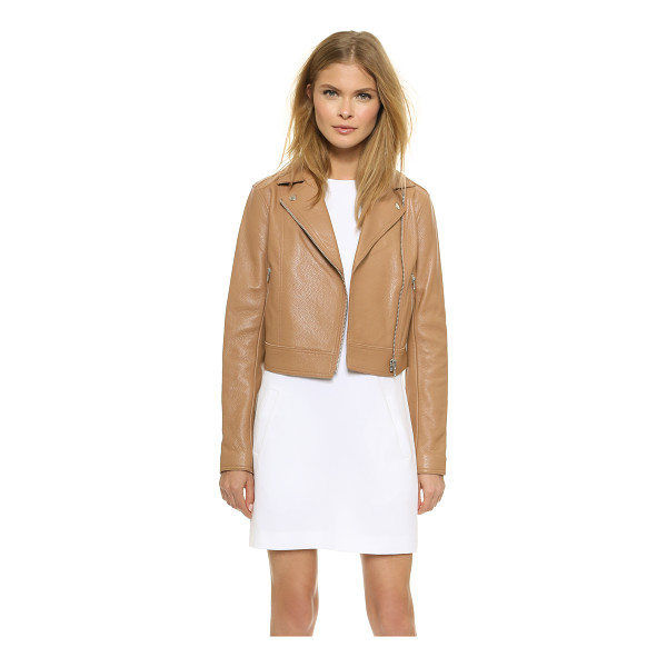 T BY ALEXANDER WANG Classic moto jacket - Pebbled leather elevates this cropped T by Alexander Wang...