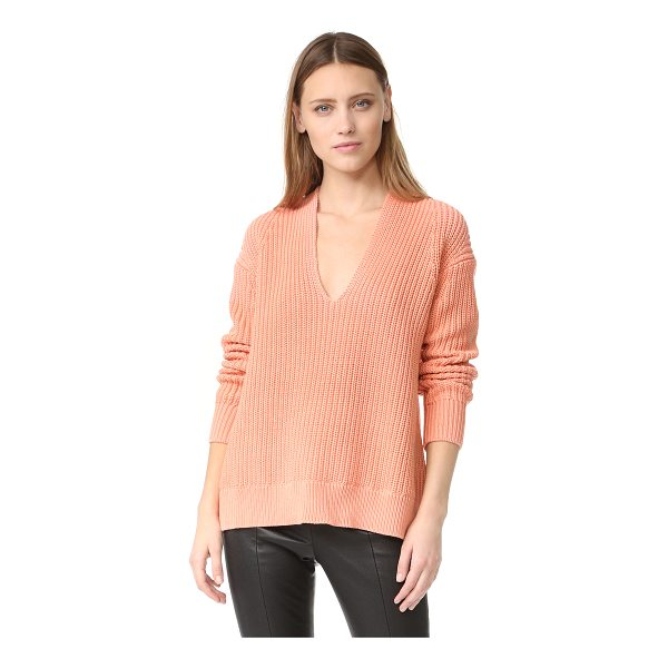 T BY ALEXANDER WANG half cardigan v neck pullover - This chunky shaker-knit T by Alexander Wang sweater has a...