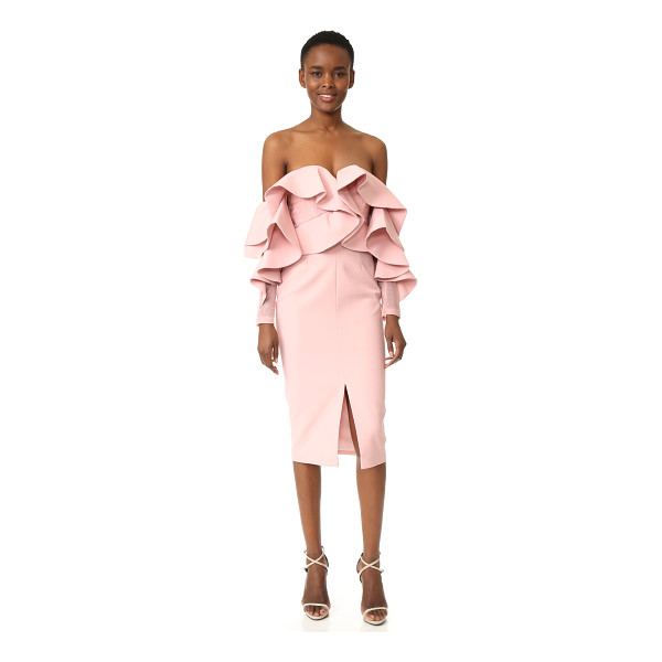 TALULAH alessa off shoulder midi dress - Heavy, cascading ruffles cover the bodice of this off...