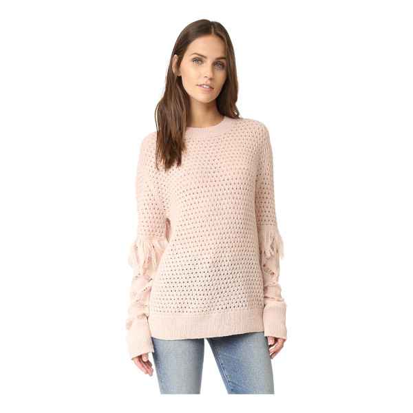 TANYA TAYLOR cable lace naomi fringe sweater - Open honeycomb stitches lend dimension to this lightweight...