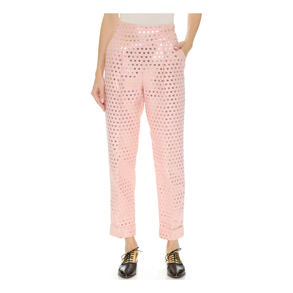 TEMPERLEY LONDON Issac slim trousers - Lamé polka dots add a playful touch to these high rise...