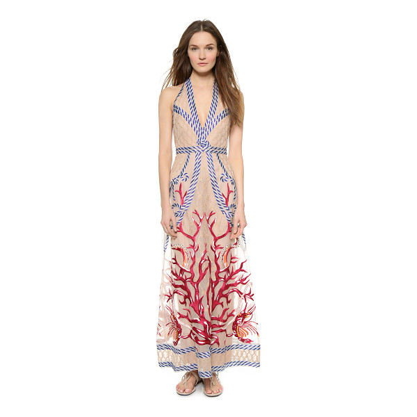 TEMPERLEY LONDON Long coral dress - An elaborate, embroidered nautical motif brings a playful...