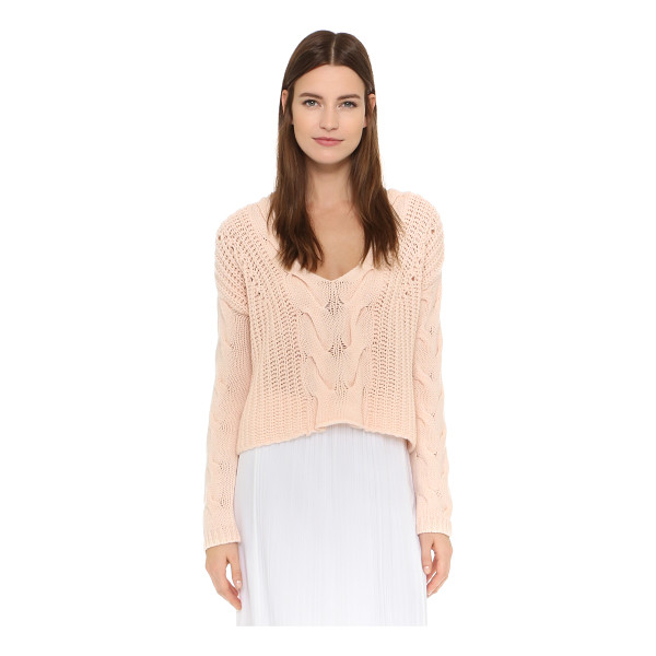 TESS GIBERSON Exaggerated cable v neck sweater - A soft, cable knit Tess Giberson crop top with a cozy hand....