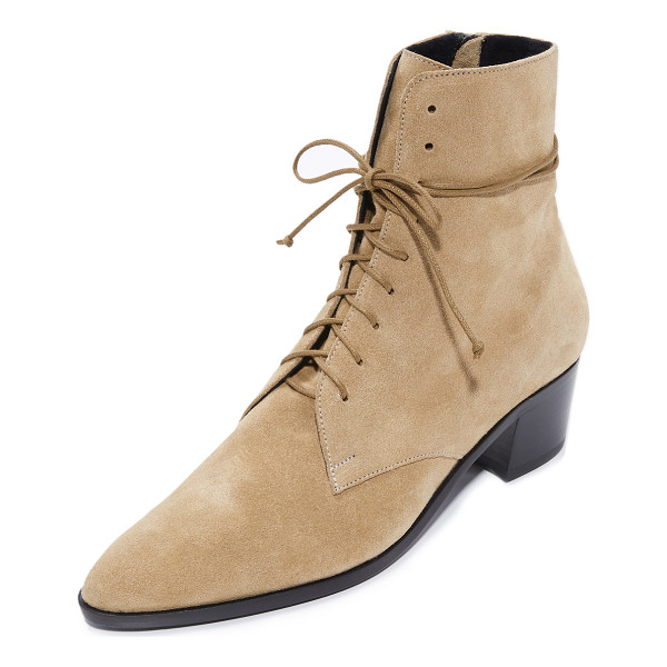 THE ARCHIVE barrow lace up booties - Luxe suede composes these pointed-toe The Archive booties....