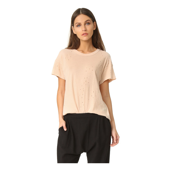 THE GREAT the boxy crew tee - Tiny, allover holes add time-worn character to this soft,...
