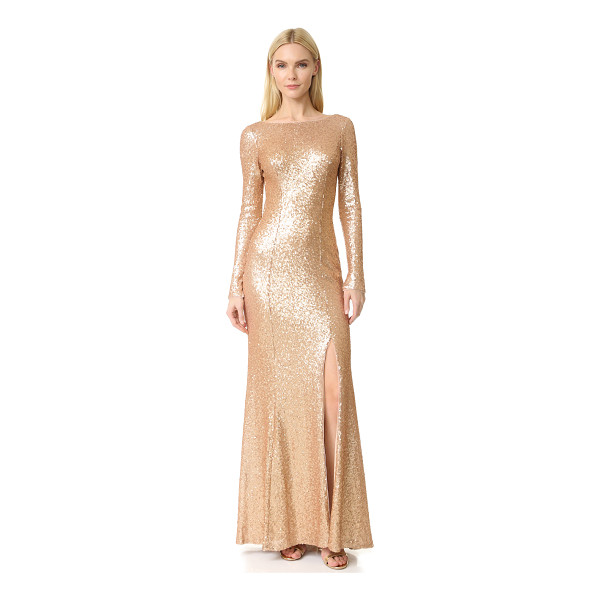 THEIA giselle bateau sequin gown - Sequins cover the mesh shell of this eye-catching Theia...