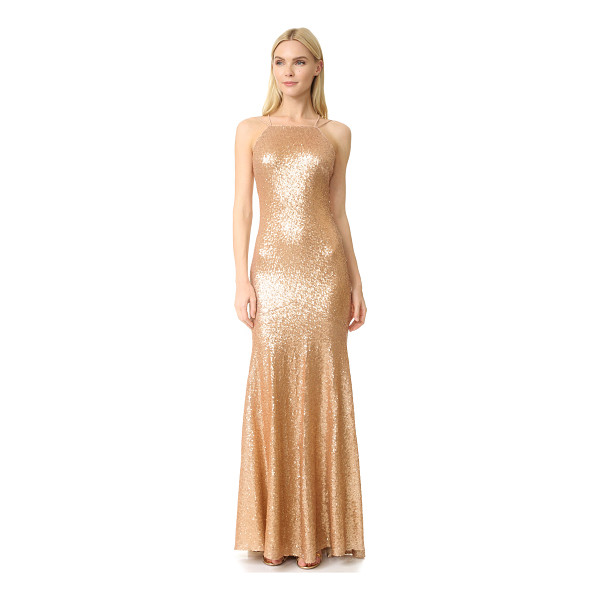 THEIA jessica sleeveless mermaid gown - Shimmering metallic sequins lend a luminous look to this...