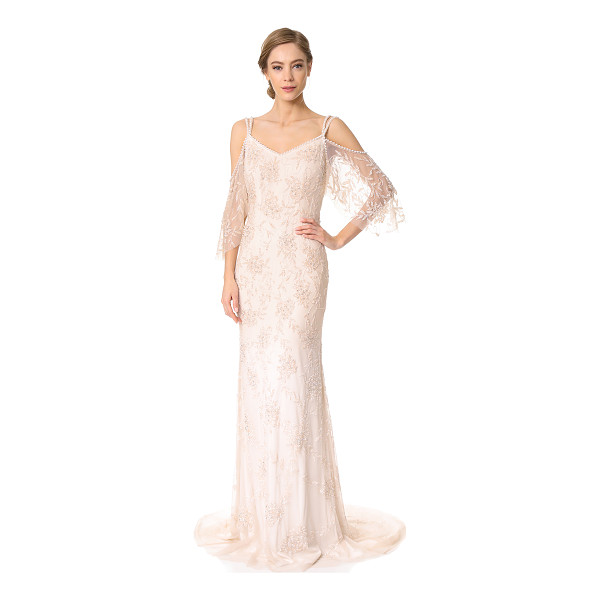 THEIA layla off the shoulder slip gown - Elegant beads create a glossy floral effect on this airy...
