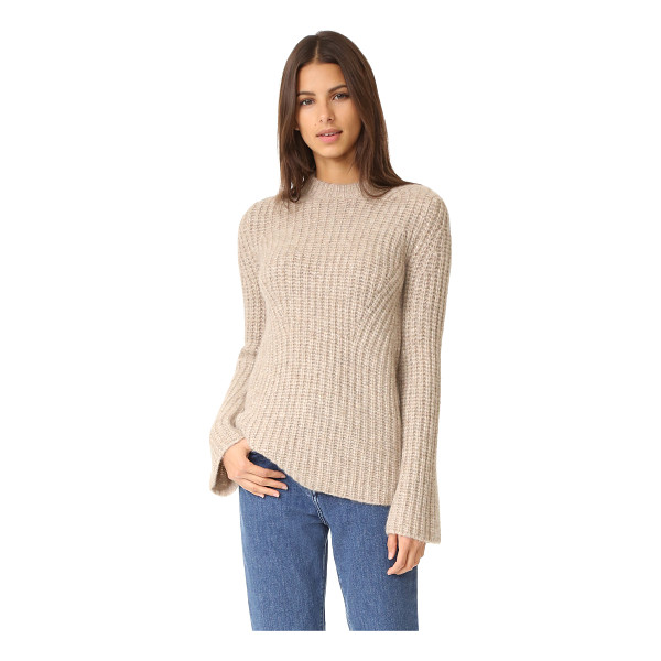 THEORY bestella sweater - Diagonal panels of chunky knit compose this slouchy,...