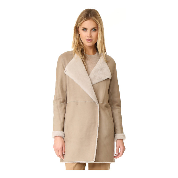 THEORY nyma f reversible coat - A reversible Theory coat made from cozy shearling. Hidden...