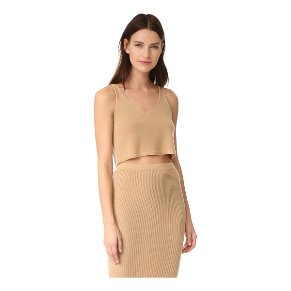 THEPERFEXT v neck cashmere tank - A luxe cashmere ThePerfext tank in a cropped profile. V...