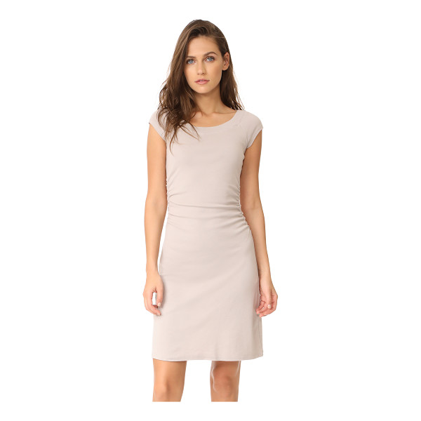 THREE DOTS heritage rib dress with ruched waist - A slim-fit Three Dots dress with a ribbed boat neckline....