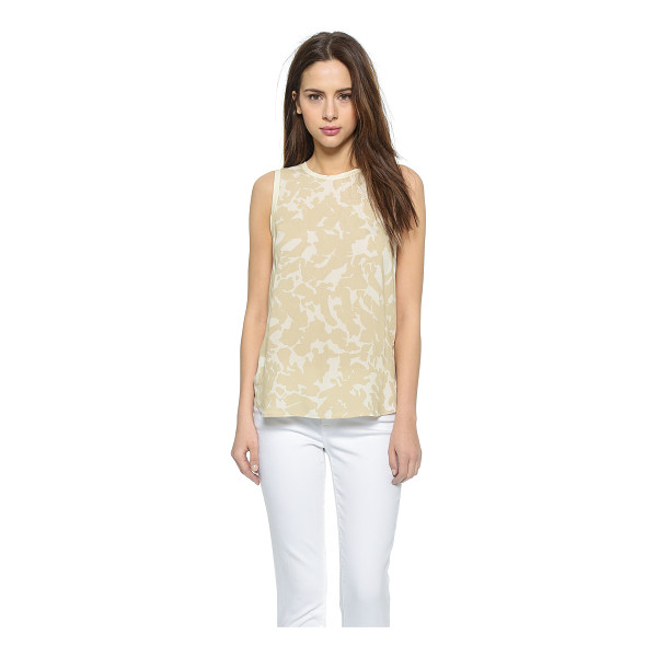 THREE DOTS Sleeveless blouse - Slim banding traces the edges of this printed crepe Three...