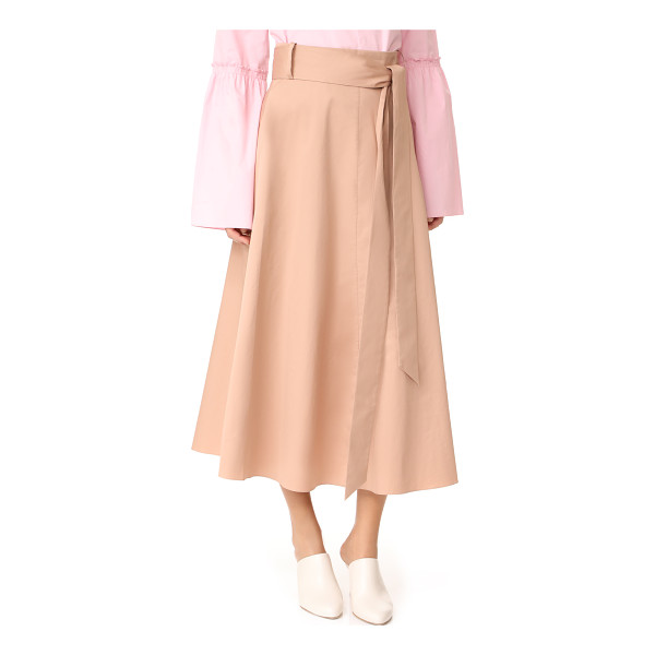 TIBI back wrap skirt - A crisp Tibi skirt in a midi length. Wraparound sashes tie...