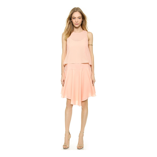 TIBI Laser cut sleeveless dress - An optional laser cut overlay brings an airy accent to this...