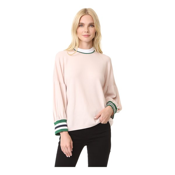 TIBI oversized puff sleeve pullover - Relaxed proportions and puff sleeves add pared-back drama...