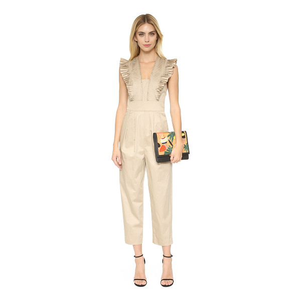 TIBI Pleated ruffle culotte jumpsuit - Topstitched accordion pleats form sculptural sleeves on...