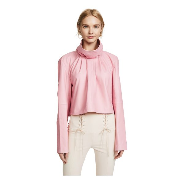TIBI sculpted crop top - Leather: Lambskin Pullover style Cropped profile Turtleneck...