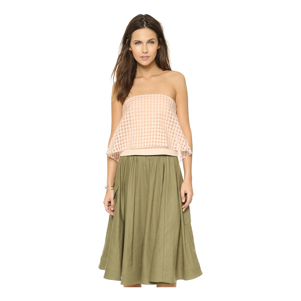 TIBI Strapless crop top - A fluttery overlay with woven gingham patterning lends...