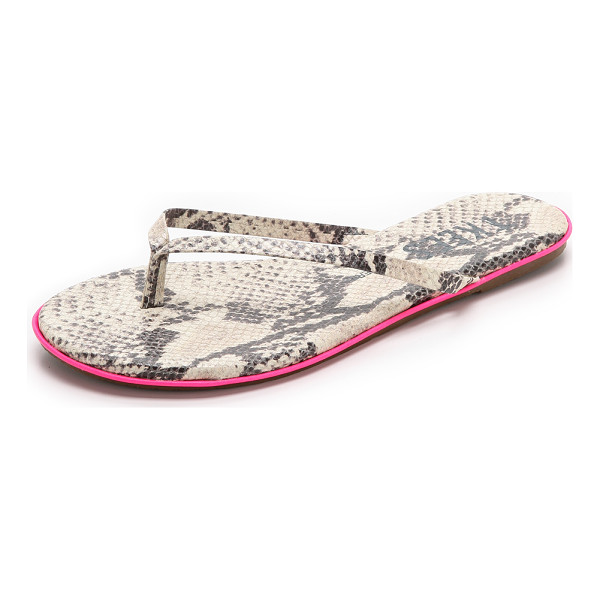 TKEES Lip liners flip flops - Snake print straps and neon trim lend a lively look to...