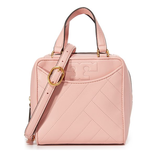 TORY BURCH alexa mini satchel - A boxy Tory Burch bag with a soft, quilted exterior. 2 slim...