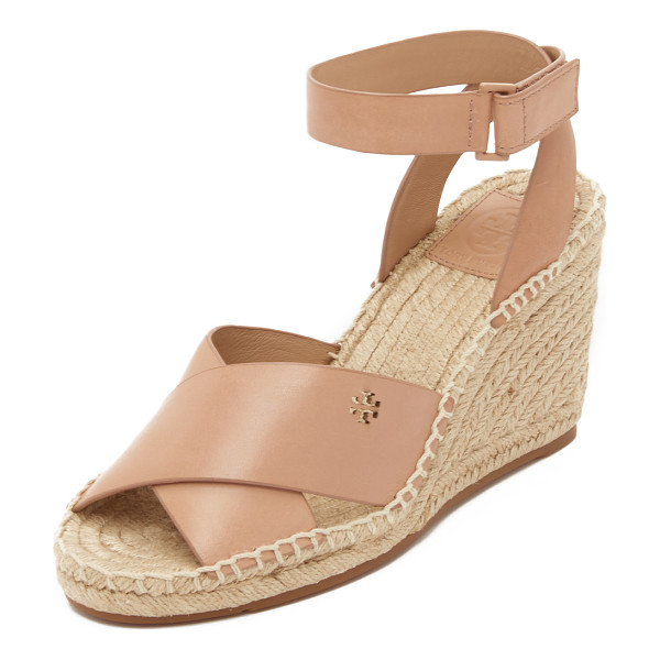 TORY BURCH Bima wedge espadrille sandals - A petite logo cutout accents the crisscross vamp on these...