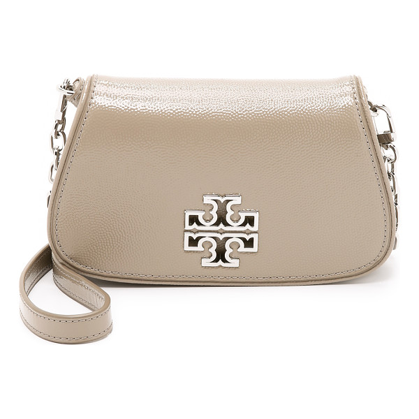 TORY BURCH Britten mini cross body bag - Pebbled patent leather adds shine to this petite Tory Burch