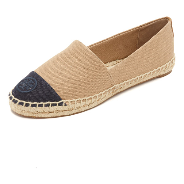 TORY BURCH Color block espadrilles - An embroidered logo accents the vamp of these two tone...