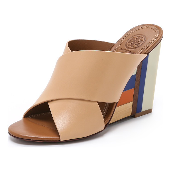 TORY BURCH Color cube mules - Enamel inlaid wooden wedges create a mod aesthetic on these...