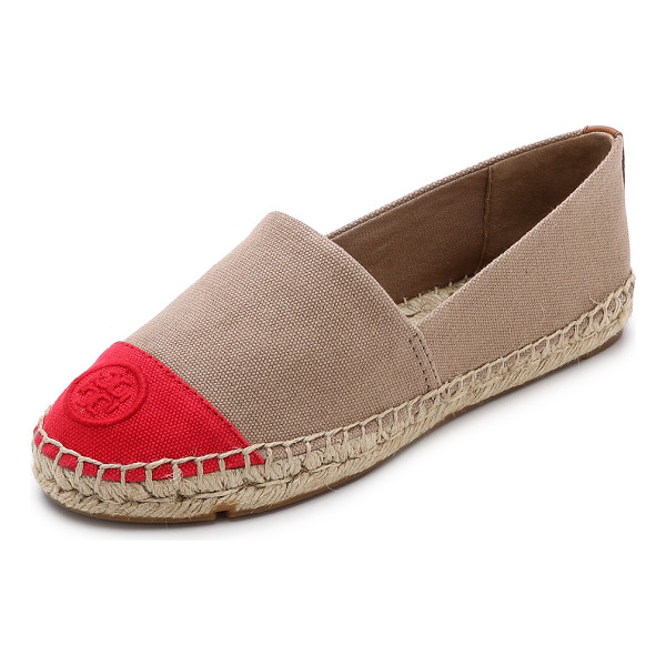 TORY BURCH Colorblock espadrilles - Logo stitching accents the contrast toe cap on these casual...