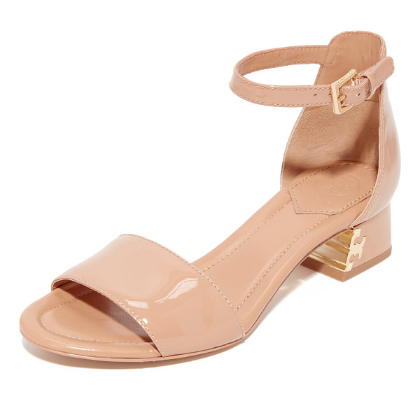 TORY BURCH finely city sandals - Glossy patent Tory Burch sandals styled with a metallic...