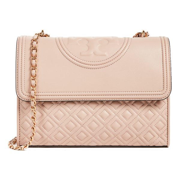 TORY BURCH fleming convertible shoulder bag - A quilted Tory Burch bag with a logo-embossed top flap....